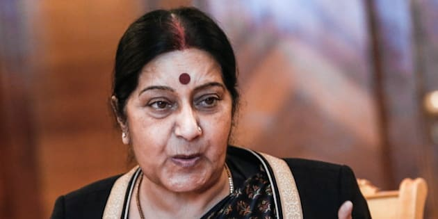 MOSCOW, RUSSIA. APRIL 18, 2016. India's Foreign Minister Sushma Swaraj speaks during bilateral talks with her Russian counterpart Sergei Lavrov (not in picture) as part of the 14th Russia-India-China (RIC) meeting of foreign ministers. Alexander Shcherbak/TASS (Photo by Alexander Shcherbak\TASS via Getty Images)