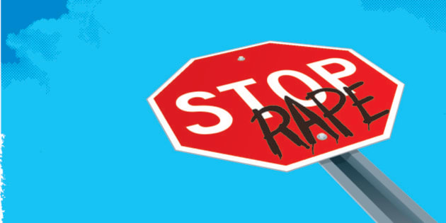 """Illustrator 10 with Transparencies. Tight vector background illustration of a stop sign with the graffiti word 'rape.' Add a headline and body copy or take out the background and make spot art. Check out my """"Conceptual Signs"""" light box for more."""