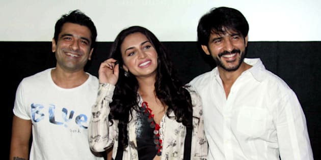 Indian Bollywood actors Ejaz Khan, (L), Suha Gezen (C) and Hiten Tejwani attend the press conference of upcoming Hindi film 'Shorgul' - based on the 2013 Muzaffarnagar riots - directed by Swatantra Singh, in Mumbai on June 29, 2016. / AFP / STR        (Photo credit should read STR/AFP/Getty Images)