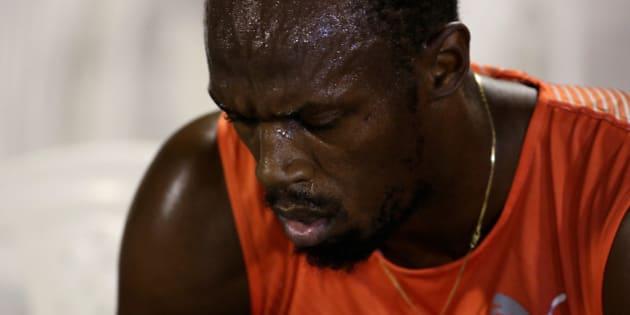 Athletics - Jamaica National Trials - Kingston - 30/06/16 Winner Usain Bolt of Jamaica upset after his quarter final 100m race. REUTERS/Gilbert Bellamy