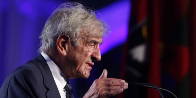 FILE - In this April 29, 2013 file photo, Elie Wiesel speaks at the 20th anniversary of the United States Holocaust Memorial Museum in Washington.  Wiesel, the Nobel laureate and Holocaust survivor has died.  His death was announced Saturday, July 2, 2016  by Israel's Yad Vashem Holocaust Memorial.  (AP Photo/Charles Dharapak, file)