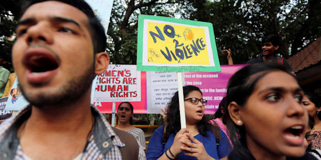 Demonstrators shout slogans during a protest against the rape and murder of a law student in the southern state of Kerala, in Mumbai, India, May 11, 2016. Authorities had released a sketch of a suspect and said they were looking for a man seen leaving the home of the 30-year-old law student. The case has evoked comparisons in the media with the gang rape and torture of a 23-year-old woman in New Delhi in 2012, which sparked nationwide protests. India toughened its anti-rape laws in response to the outcry following the 2012 murder, but rape, acid attacks, domestic violence and molestation are common. REUTERS/Shailesh Andrade