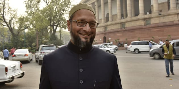 NEW DELHI, INDIA - MARCH 1: All India Majlis-E-Ittehadul Muslimeen MP Asaduddin Owaisi at Parliament during the ongoing Budget Session, on March 1, 2016 in New Delhi, India. Both the Houses of Parliament saw repeated adjournments as Opposition confronted the Government on a range of issues, including MoS for Human Resource Development Ram Shankar Katheria's remark following a Vishwa Hindu Parishad (VHP) leader's murder in Agra. (Photo by Sanjeev Verma/Hindustan Times via Getty Images)