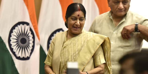 NEW DELHI, INDIA - JUNE 19: External Affairs Minister Sushma Swaraj with Minister of State V.K. Singh during an annual press conference at Ministry of External Affairs, Jawaharlal Nehru Bhawan, on June 19, 2016 in New Delhi, India. Swaraj said, 'China is not protesting membership of India in NSG, it is only talking of criteria procedure.' She also said India would not oppose any other application for entry into the NSG but underlined the final decision should be decided on merits. (Photo by Arvind Yadav/Hindustan Times via Getty Images)