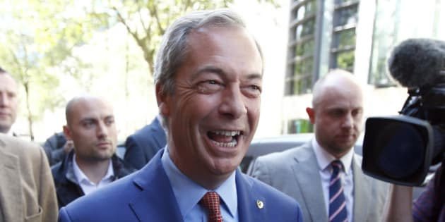 Nigel Farage, the leader of the United Kingdom Independence Party (UKIP), leaves after a news conference in central London, Britain July 4, 2016. Farage said he will step down as leader of UKIP.   REUTERS/Peter Nicholls
