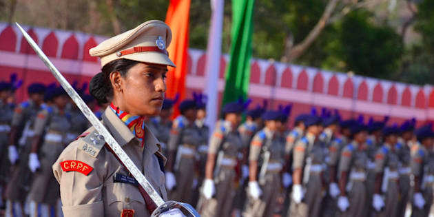 RAJASTHAN, INDIA - 2016/05/05: Central Police Force India's first female battalion oath taking ceremony,wherein they  will be deployed in Naxal areas afterwards. (Photo by Anand Sharma/Pacific Press/LightRocket via Getty Images)
