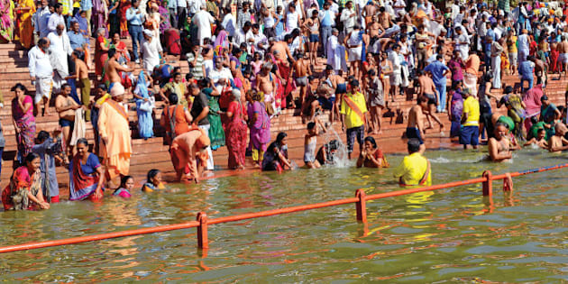 Simhasth Kumbh Mela Mahaparv is rejoiced by holy dip in the Holy river 'Kshipra' in ancient and religious city Ujjain, Madhya Pradesh. Simhasth Kumbh Mela which occurs every 12 years. Simhasth Kumbh mela - 2016 is from April 22nd to May 21st 2016. The holy dip in river Kshipra is taken on the auspicious day at a defined time at which it is believed that 'Nectar' from 'Kumbh' was dropped in the river. It is believed that taking a dip in river Kshipra on this ocassion purifies the soul and overcomes all the sins.