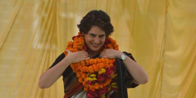 RAE BARELI, INDIA  APRIL 22: Priyanka Gandhi Vadra campaigned for her mother Sonia Gandhi in Rae Bareli on Tuesday, April 22, 2014.(Photo by Pankaj Nangia/India Today Group/Getty Images)