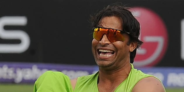 Pakistan cricketer Shoaib Akhtar laughs during a training session at The Suriyawewa Mahinda Rajapakse International Cricket Stadium in the southern district of Hambantota on February 21,2011.  Pakistan are set to face Kenya in a match of the World Cup tournament on February 23, 2011. AFP PHOTO/ Lakruwan WANNIARACHCHI (Photo credit should read LAKRUWAN WANNIARACHCHI/AFP/Getty Images)