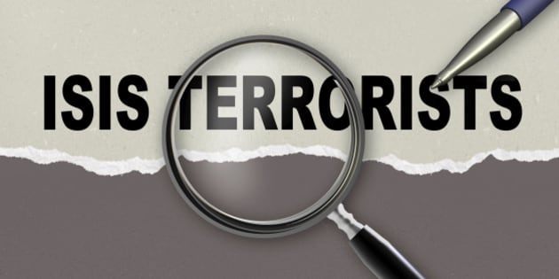 word ISIS TERRORISTS and magnifying glass with pencil made in 2d software