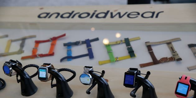 SAN FRANCISCO, CA - MAY 28:  Google Android Wear smart watches are displayed during the 2015 Google I/O conference on May 28, 2015 in San Francisco, California. The annual Google I/O conference runs through May 29.  (Photo by Justin Sullivan/Getty Images)