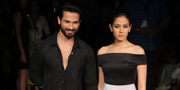 MUMBAI, INDIA - AUGUST 29: Bollywood actor Shahid Kapoor with his wife Mira Rajput during the Lakme Fashion Week Winter/Festive 2015 on August 29, 2015 in Mumbai, India. (Photo by Pramod Thakur/Hindustan Times via Getty Images)