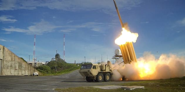 A Terminal High Altitude Area Defense (THAAD) interceptor is launched during a successful intercept test, in this undated handout photo provided by the U.S. Department of Defense, Missile Defense Agency.  U.S. Department of Defense, Missile Defense Agency/Handout via Reuters/File Photo  ATTENTION EDITORS - FOR EDITORIAL USE ONLY. NOT FOR SALE FOR MARKETING OR ADVERTISING CAMPAIGNS. THIS IMAGE HAS BEEN SUPPLIED BY A THIRD PARTY. IT IS DISTRIBUTED, EXACTLY AS RECEIVED BY REUTERS, AS A SERVICE TO CLIENTS