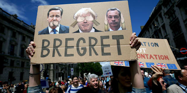 People hold banners during a 'March for Europe' demonstration against Britain's decision to leave the European Union, in central London, Britain July 2, 2016. Britain voted to leave the European Union in the EU Brexit referendum.     REUTERS/Neil Hall