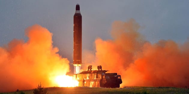 A test launch of ground-to-ground medium long-range ballistic rocket Hwasong-10 in this undated photo released by North Korea's Korean Central News Agency (KCNA) on June 23, 2016.  REUTERS/KCNA        ATTENTION EDITORS - THIS PICTURE WAS PROVIDED BY A THIRD PARTY. REUTERS IS UNABLE TO INDEPENDENTLY VERIFY THE AUTHENTICITY, CONTENT, LOCATION OR DATE OF THIS IMAGE. FOR EDITORIAL USE ONLY. NOT FOR SALE FOR MARKETING OR ADVERTISING CAMPAIGNS. NO THIRD PARTY SALES. NOT FOR USE BY REUTERS THIRD PARTY DISTRIBUTORS. SOUTH KOREA OUT. NO COMMERCIAL OR EDITORIAL SALES IN SOUTH KOREA. THIS PICTURE IS DISTRIBUTED EXACTLY AS RECEIVED BY REUTERS, AS A SERVICE TO CLIENTS.      TPX IMAGES OF THE DAY