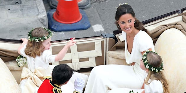 Maid of Honour Pippa Middleton arrives at the Westminster Abbey for the wedding of Britain's Prince William and Kate Middleton in central London April 29, 2011. (AP Photo/Peter Jordan, Pool)