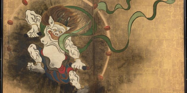 The Thunder God. Left part of two-fold screens Wind God and Thunder God, Early 18th cen.. Found in the collection of the Tokyo National Museum. (Photo by Fine Art Images/Heritage Images/Getty Images)