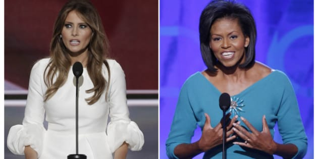 Melania Trump (L), wife of Republican U.S. presidential candidate Donald Trump, speaks at the Republican National Convention in Cleveland, Ohio, U.S. July 18, 2016 and Michelle Obama addresses the opening session of the 2008 Democratic National Convention in Denver, Colorado August 25, 2008 in a combination of file photos. REUTERS/Mike Segar/File Photos  TPX IMAGES OF THE DAY