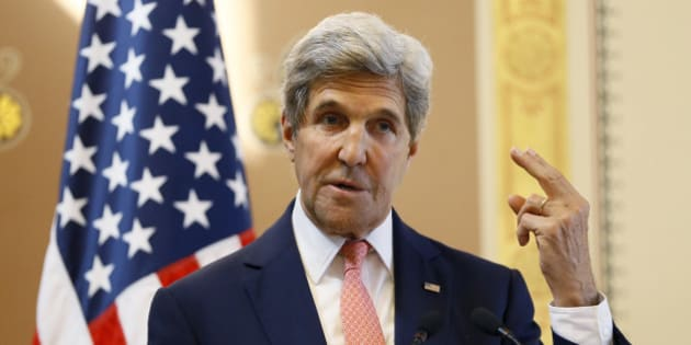 U.S. Secretary of State John Kerry gestures as he speaks during a press conference with Britain's Foreign Secretary Boris Johnson at the Foreign Office in London, Tuesday, July 19, 2016. (AP Photo/Kirsty Wigglesworth, pool)