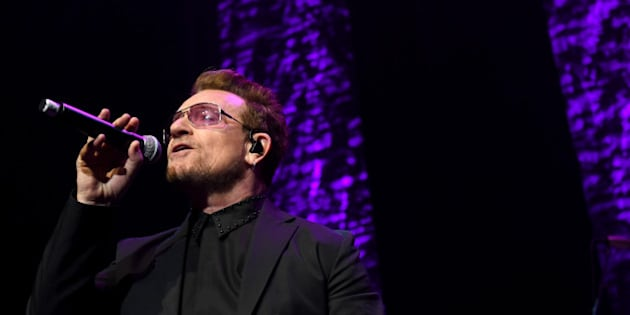 NEW YORK, NY - APRIL 29:  Singer Bono of U2 performs during We Are Family Foundation 2016 Celebration Gala on April 29, 2016 in New York, New York.  (Photo by Shahar Azran/Getty Images)