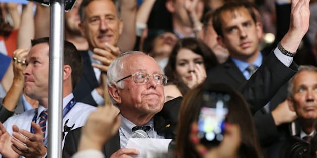 PHILADELPHIA, PA - JULY 26:  Senator Bernie Sanders reacts after the Vermont delegation cast their votes during roll call on the second day of the Democratic National Convention at the Wells Fargo Center on July 26, 2016 in Philadelphia, Pennsylvania. An estimated 50,000 people are expected in Philadelphia, including hundreds of protesters and members of the media. The four-day Democratic National Convention kicked off July 25.  (Photo by Paul Morigi/WireImage)