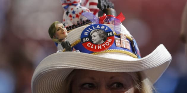 A Hillary Clinton supporter's hat is shown at the Democratic National Convention in Philadelphia, Pennsylvania, U.S. July 25, 2016. REUTERS/Jim Young