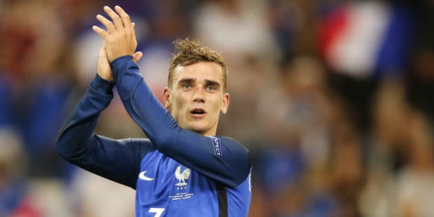 France's Antoine Griezmann acknowledges the supporter after his team won 2-0 during the Euro 2016 semifinal soccer match between Germany and France, at the Velodrome stadium in Marseille, France, Thursday, July 7, 2016. (AP Photo/Michael Probst)