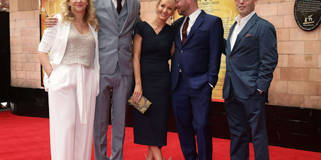 JK Rowling (centre) with writer of the show Jack Thorne (2nd left), director John Tiffany (2nd right), co-producers Colin Callender and Sonia Friedman arriving for the opening gala performance of Harry Potter and The Cursed Child, at the Palace Theatre in London.