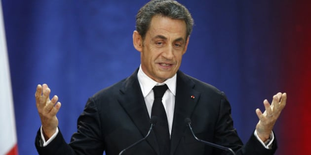 FILE- In this Thursday, Sept. 25, 2014 file photo, former French President, Nicolas Sarkozy, speaks as part of his campaign for the leadership of his conservative UMP party in Lambersart, northern France. Sarkozy has confirmed his intention of stepping down from being the head of the conservative party in order to run in presidential election primaries. (AP Photo/Michel Spingler, File)