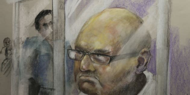 Richard Henry Bain, the suspect for the shooting at the Metropolis on Tuesday night, is being arraigned in the Montreal courthouse, in this artist's courtroom sketch made September 6, 2012. One man died and another was injured outside the theatre where Parti Quebecois PQ victory rally took place. Bain's brief court appearance was his first in public since television footage that showed police bundling him into a police car after two people were shot outside the rally after Tuesday's election. REUTERS/Mike McLaughlin (CANADA - Tags: CIVIL UNREST CRIME LAW ELECTIONS POLITICS) TV OUT.  NOT FOR SALE TO TELEVISION BROADCASTERS