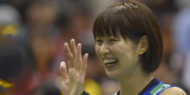 TOKYO, JAPAN - MAY 22:  Saori Kimura #3 of Japan waves for fans after winning the Women's World Olympic Qualification game between Netherlands and Japan at Tokyo Metropolitan Gymnasium on May 22, 2016 in Tokyo, Japan.  (Photo by Koki Nagahama/Getty Images)