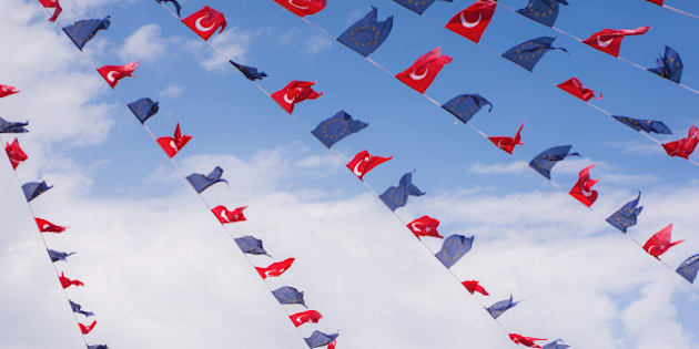 Turkey and European Union flags in Taksim Square