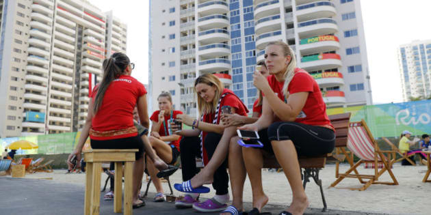 Athletes from Montenegro gather inside the Olympic Village in Rio de Janeiro, Brazil August 1, 2016. REUTERS/Kai Pfaffenbach