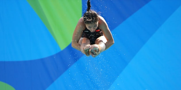 2016 Rio Olympics - Diving - Olympic Park - Rio de Janeiro, Brazil - 05/08/2016. Diver from China practices.                REUTERS/Laszlo Balogh FOR EDITORIAL USE ONLY. NOT FOR SALE FOR MARKETING OR ADVERTISING CAMPAIGNS.