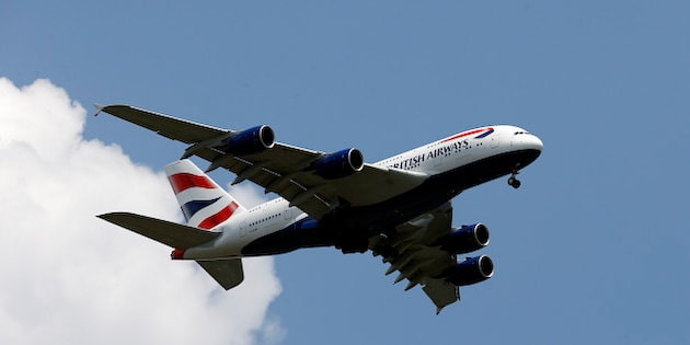 A British Airways Airbus A380-800 descends for a landing at Washington Dulles International Airport as seen, Wednesday, June 1, 2016 in Ashburn, Va. (AP Photo/Alex Brandon)
