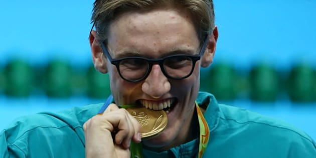 2016 Rio Olympics - Swimming - Victory Ceremony - Men's 400m Freestyle Victory Ceremony - Olympic Aquatics Stadium - Rio de Janeiro, Brazil - 06/08/2016. Mack Horton (AUS) of Australia poses with his gold medal.  REUTERS/Marcos Brindicci  FOR EDITORIAL USE ONLY. NOT FOR SALE FOR MARKETING OR ADVERTISING CAMPAIGNS.