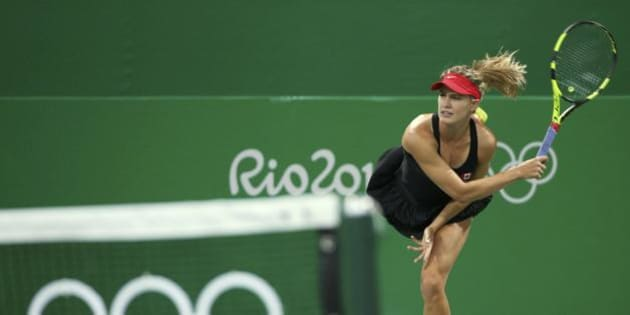 2016 Rio Olympics - Tennis - Preliminary - Women's Doubles First Round - Olympic Tennis Centre - Rio de Janeiro, Brazil - 07/08/2016. Eugenie Bouchard (CAN) of Canada in action during her match with Gabriela Dabrowski (CAN) of Canada against Klaudia Jansignacik (POL) of Poland and Paula Kania (POL) of Poland. REUTERS/Kevin Lamarque FOR EDITORIAL USE ONLY. NOT FOR SALE FOR MARKETING OR ADVERTISING CAMPAIGNS.