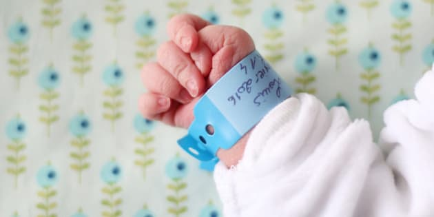 close-up of a new-born hand