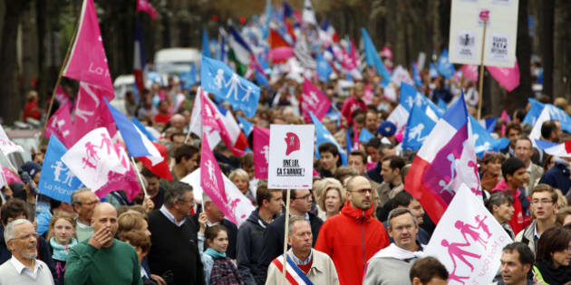 """People wave flags and hold signs with messages as tens of thousands of people take part in the """"Manif Pour Tous"""" (Demonstration For All) to protest against PMA (Procreation Medicalement Assistee or Medically Assisted Reproduction) and GPA (Grosesse pour Autrui or Gestation for Others) during a march in Paris October 5, 2014.  REUTERS/John Schults (FRANCE - Tags: CIVIL UNREST HEALTH)"""
