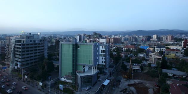 A part of the evening skyline of Ethiopia's capital Addis Ababa November 16, 2015. In Ethiopia, where state spending rather than private enterprise has been the driving force behind double-digit economic growth, tech entrepreneurs like Araya Lakew feel stuck in the slow lane. Picture taken November 16, 2015 REUTERS/Tiksa Negeri