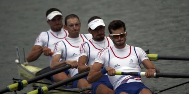 2016 Rio Olympics - Rowing - Repechage - Lightweight Men?s Four Repechages - Lagoa Stadium - Rio De Janeiro, Brazil - 08/08/2016. Franck Solforosi (FRA) of France, Thomas Baroukh (FRA) of France, Guillaume Raineau (FRA) of France and Thibault Colard (FRA) of France compete. REUTERS/Carlos Barria  FOR EDITORIAL USE ONLY. NOT FOR SALE FOR MARKETING OR ADVERTISING CAMPAIGNS.