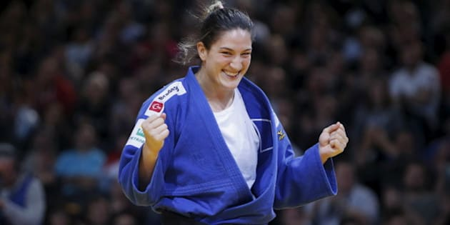 Mayra Aguiar of Brazil reacts after defeating Kayla Harrison of the U.S. in their women's under 78kg gold medal fight at the Paris International Grand Slam judo tournament, France, February 7, 2016. REUTERS/Charles Platiau