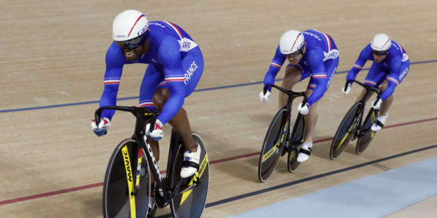 Bronze medalists France's team compete in the men's team sprint finals at the Rio Olympic Velodrome during the 2016 Summer Olympics in Rio de Janeiro, Brazil, Thursday, Aug. 11, 2016. (AP Photo/Patrick Semansky)