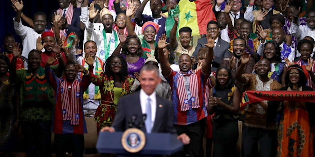 WASHINGTON, DC - AUGUST 03:  Mandela Washington Fellows welcome U.S. President Barack Obama and sing 'Happy Birthday' to him as he arrives at the Presidential Summit of the Mandela Washington Fellowship for Young African Leaders at the Omni Shoreham Hotel August 3, 2016 in Washington, DC. As part of Obama's Young African Leaders Initiative, the summit brought together 1000 leaders, ages 25-35, from across Africa to the U.S. for 6 weeks of leadership training and mentoring at twenty universities and colleges to 'spur growth and prosperity, strengthen democratic governance, and enhance peace and security across Africa.'  (Photo by Chip Somodevilla/Getty Images)