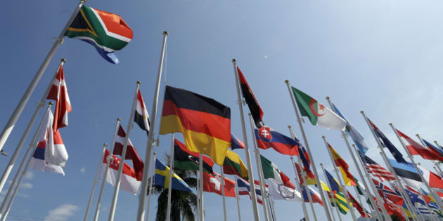 The German flag is hung a half staff outside the canoe venue during the 2016 Summer Olympics in Rio de Janeiro, Brazil, Tuesday, Aug. 16, 2016. (AP Photo/Luca Bruno)