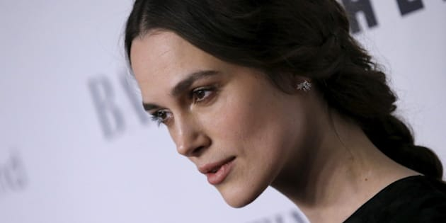 """Actress Keira Knightley poses as she arrives for the """"An Evening Honoring Valentino"""" gala benefiting the Lincoln Center Corporate Fund at Alice Tully Hall at Lincoln Center in the Manhattan borough of New York City, December 7, 2015. The event honored Valentino Creative Directors Maria Grazia Chiuri and Pierpaolo Piccioli.  REUTERS/Mike Segar"""