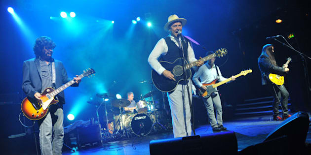 LONDON, UNITED KINGDOM - JULY 02: (L-R) Paul Langlois, Johnny Fay, Gordon Downie, Gord Sinclair and Rob Baker of The Tragically Hip perform on stage at KOKO on July 2, 2013 in London, England. (Photo by C Brandon/Redferns via Getty Images)