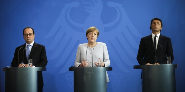 FILE - In this Monday, June 27, 2016 file photo, German Chancellor Angela Merkel, center, the Prime Minister of Italy Matteo Renzi, right, and the President of France Francois Hollande brief the media during a meeting at the chancellery in Berlin. Italian Premier Matteo Renzi has invited his German and French counterparts to pay their respects at the tomb of one of the founding fathers of European unity in a symbolic bid to relaunch the bloc after Britain's clamorous decision to leave the EU. The location for Monday's summit carries particular resonance as Europe confronts Islamic extremist violence, economic stagnation and continued anxiety over the implications of the Brexit vote.  (AP Photo/Markus Schreiber, File)