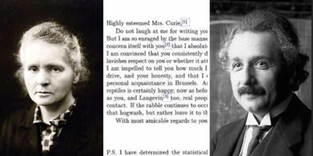 La storia della lettera di Albert Einstein a Marie Curie