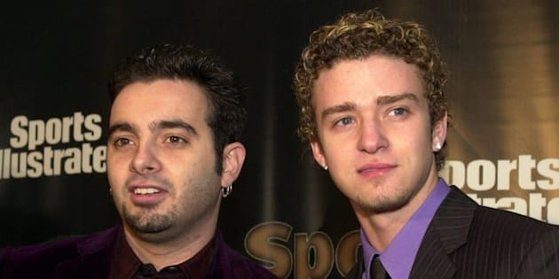 Chris Kirkpatrick, left, and Justin Timberlake from the pop group *NSYNC arrive at the Sports Illustrated's Sportsman of the Year Awards in New York, Tuesday, Dec. 12, 2000. (AP Photo/Stephen Chernin)